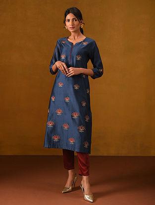 SOUNA - Indigo Blue Silk Cotton Kurta with Gota Patti Embroidery