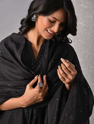 Black Hand Mukaish Silk Cotton Dupatta