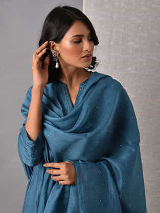 Blue Hand Mukaish Silk Cotton Dupatta