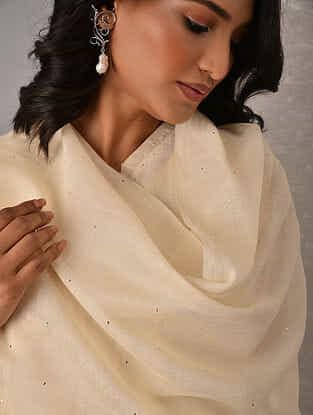 Off White Hand Mukaish Silk Cotton Dupatta
