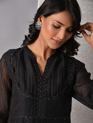 ASFA - Black Hand Mukaish Silk Cotton Kurta with Slip