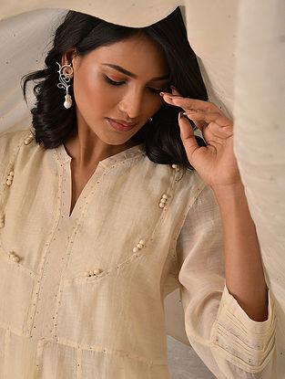 LIBA - Off White Hand Mukaish Silk Cotton Kurta with Slip