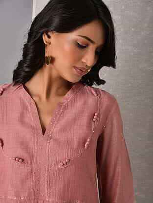 AIZA - Pink Hand Mukaish Silk Cotton with Slip