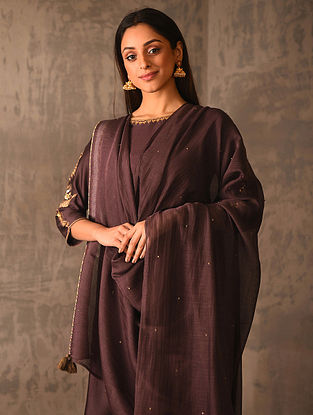 Wine Silk Cotton Dupatta