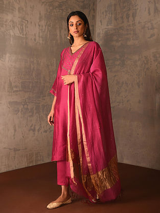 Fuchsia Silk Cotton Dupatta with Zari