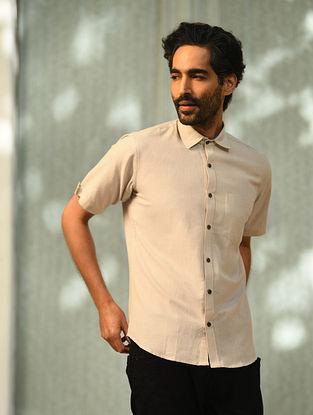 Beige Half Sleeve Cotton Shirt