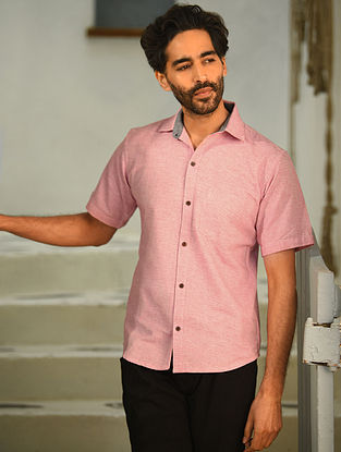 Pink Half Sleeve Cotton Shirt