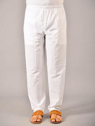 White Elasticated Waist Cotton Pyjama with Pockets