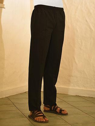 Black Elasticated Waist Cotton Pyjama with Pockets
