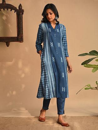 Hajra - Indigo Natural Dyed Shibori Tussar Cotton Kurta With Hand Work