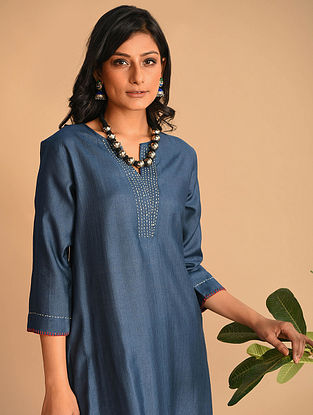 Wasimah - Indigo Tussar Cotton Kurta With Kantha