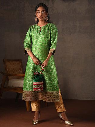 Green Vintage Benarasi Silk Brocade Kurta