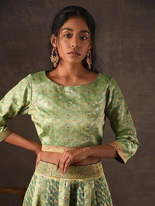 Green Vintage Benarasi Silk Brocade Blouse