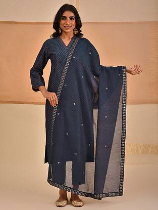 Blue Block Printed Silk Cotton Dupatta