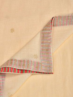 Ivory Block Printed Silk Cotton Dupatta