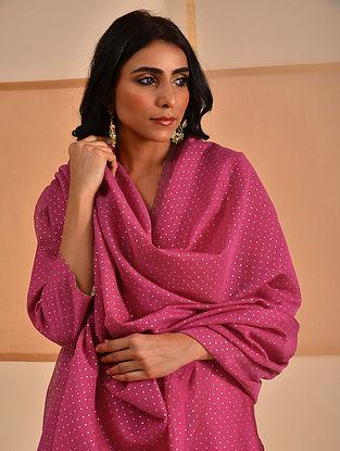 Pink Block Printed Silk Cotton Dupatta