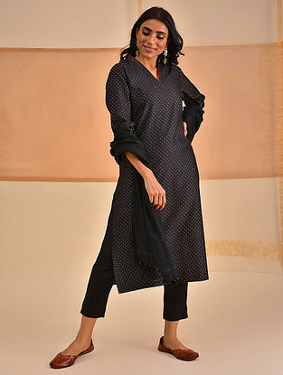 ROBA - Black Block Printed Silk Cotton Kurta