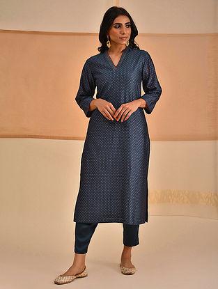 VAHI - Blue Block Printed Silk Cotton Kurta