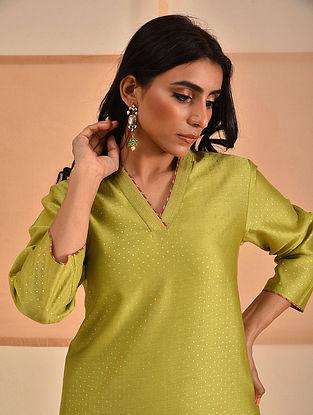 ZUHA - Lime Block Printed Silk Cotton Kurta