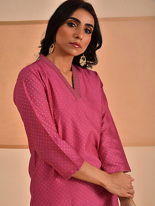 ALVIA - Pink Block Printed Silk Cotton Kurta