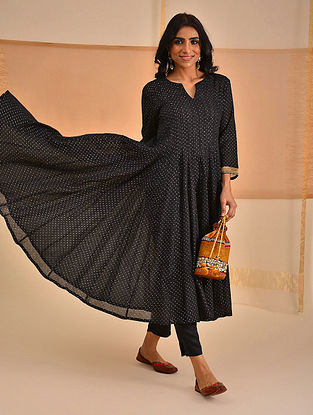 LENOA - Black Block Printed Silk Cotton Kalidar Kurta