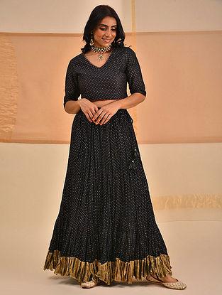 URUSA - Black Block Printed Silk Cotton Blouse