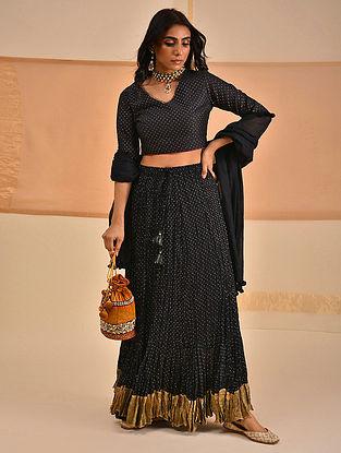 MILFAT - Black Block Printed Cotton Mul Skirt