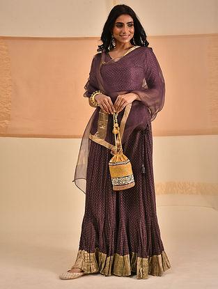 NAIFIN - Wine Block Printed Cotton Mul Skirt