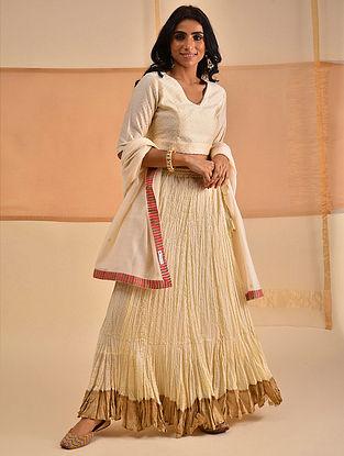 ABHA - Ivory Block Printed Cotton Mul Skirt