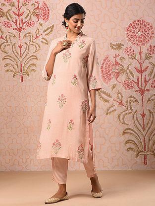 EILA - Pink Block Printed Modal Kurta with Khari and Sequin