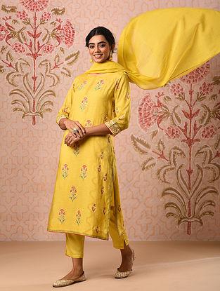 FULLARA - Mustard Block Printed Modal Kurta with Khari and Sequin