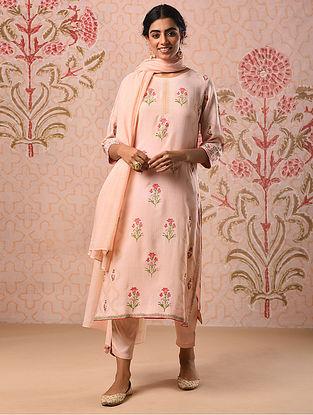 HEENA - Pink Block Printed Modal Kurta with Khari and Sequin
