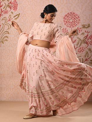 JAISHREE - Pink Block Printed Modal Lehenga with Khari and Sequin (Set of 3)