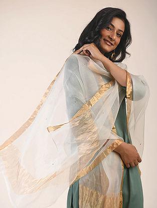 Ivory Silk Cotton Dupatta with Zari