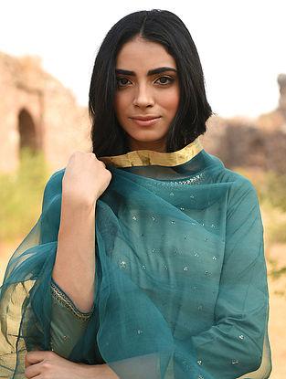 Teal Silk Cotton Dupatta with Zari