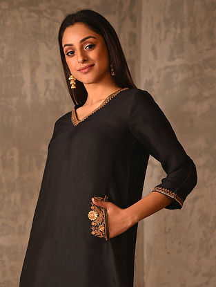 ANARAT - Black Hand Embroidered Viscose Spun Silk Kurta