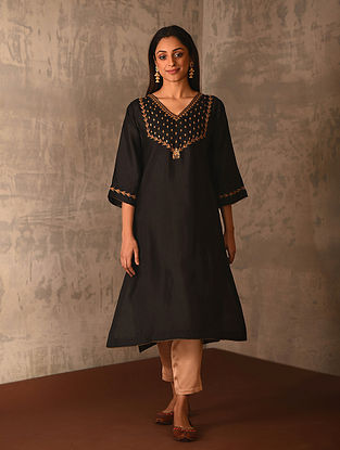 ZIYA - Black Hand Embroidered Viscose Spun Silk Kurta