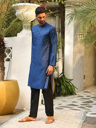 Blue Tussar Cotton Long Kurta