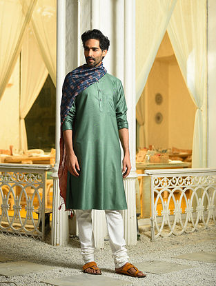 Green Tussar Cotton Long Kurta