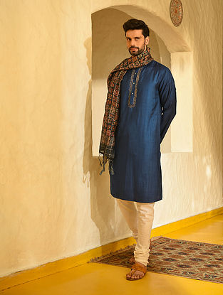 Blue Tussar Cotton Long Kurta with Zari Embroidery
