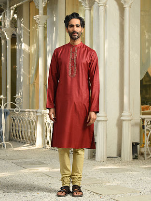 Maroon Tussar Cotton Long Kurta with Zari Embroidery