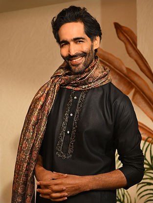 Black Tussar Cotton Long Kurta with Zari Embroidery