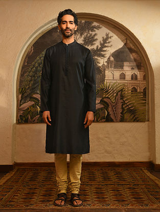 Black Tussar Cotton Long Kurta with Embroidery