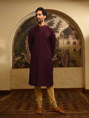 Wine Tussar Cotton Long Kurta with Embroidery