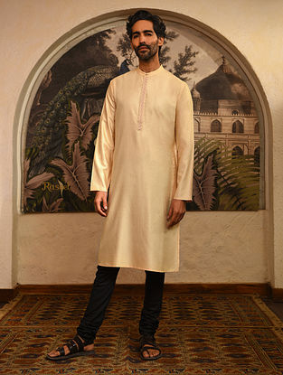 Beige Tussar Cotton Long Kurta with Embroidery