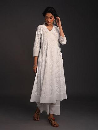 White Block-Printed Cotton Angrakha with Raw Edge Hem