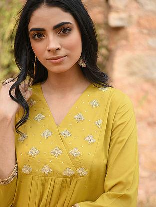 LYANA - Mustard Hand Embroidered Modal Kurta with Pants