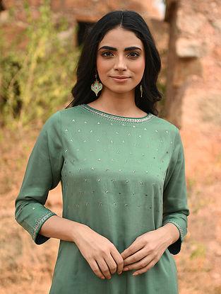 SANNAH - Green Hand Embroidered Modal Kurta with Pants