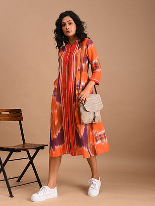 ABOLI - Orange Handloom Cotton Gamcha Dress