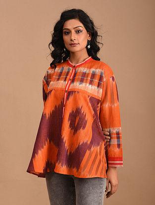 AISHMIN - Orange Handloom Cotton Gamcha Top
